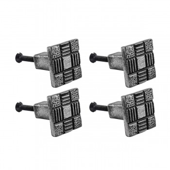 <PRE>Cabinet Knob Drawer Pull Square Aztec Pewter Finish Iron Pack Of 4</PRE>zoom1