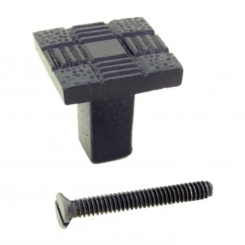 <PRE>Cabinet Knob Drawer Pull Hardware Square Aztec Black Iron Pack of 4</PRE>zoom3