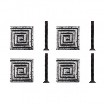 <PRE>Square Maze Iron Cabinet Knob Pewter Finish Cabinet Hardware Pack of 4</PRE>