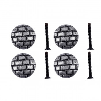 <PRE>Iron Cabinet Knob Round Pewter Finish Brick Design Cabinet Hardware Pack of 4</PRE>zoom1