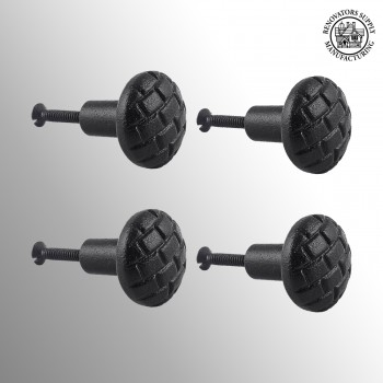 <PRE>Cabinet Knob Drawer Pull Black Iron Round Brick Design Pack of 4</PRE>zoom2