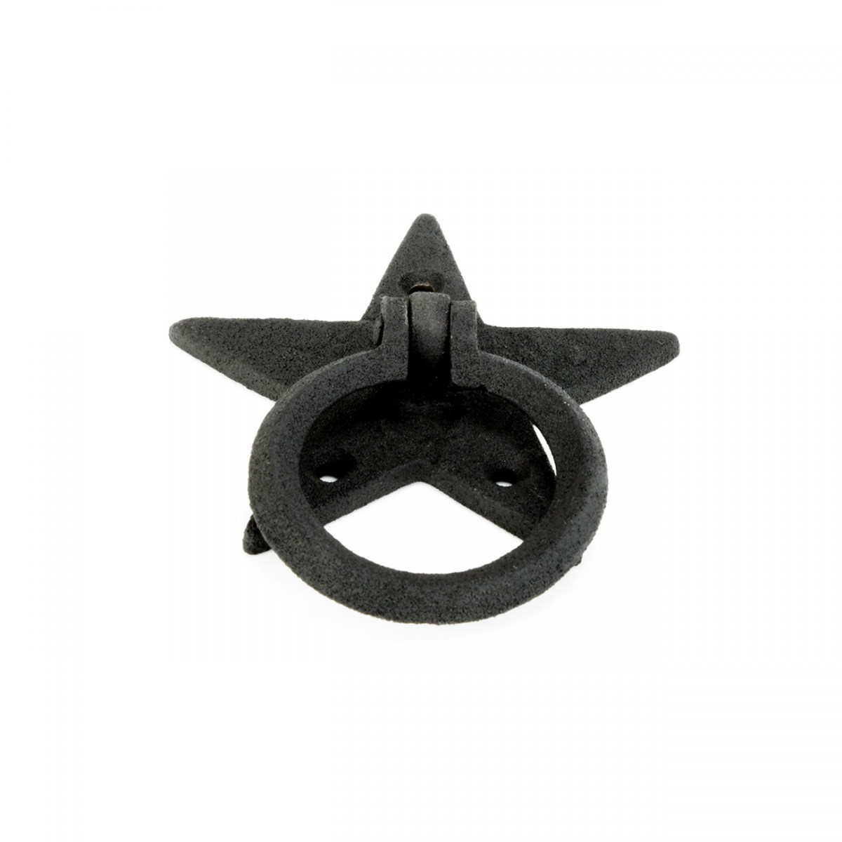 Cabinet Drawer Ring Pull Black Iron Southern Star Screws Included Pack of 4 Black Iron Star Cabinet Drawer Ring Pull