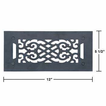spec-<PRE>4 Heat Air Grille Cast Victorian Overall 5 1/2 x 12 </PRE>