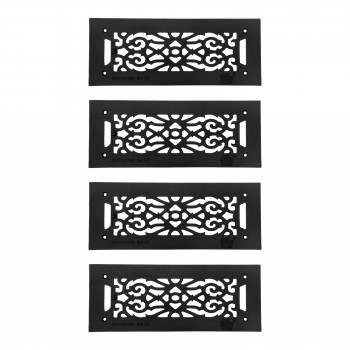 4 Heat Air Grille Cast Victorian 5.5 x 14 Overall Heat Register Floor Register Wall Registers