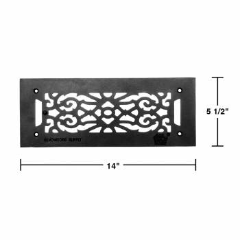 spec-<PRE>4 Heat Air Grille Cast Victorian 5.5&quot; x 14&quot; Overall </PRE>