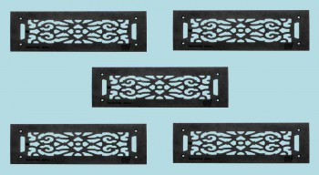 """<PRE>5 Grilles Black Cast Aluminum 5-1/2inch x 16"""" Set of 5 </PRE>zoom2"""