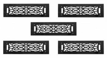 """<PRE>5 Grilles Black Cast Aluminum 5-1/2inch x 16"""" Set of 5 </PRE>zoom1"""