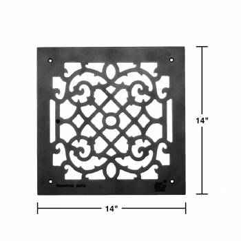 spec-<PRE>4 Heat Air Grille Cast Victorian Overall 14 x 14 </PRE>