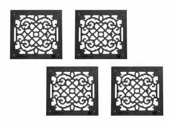 <PRE>4 Air Grilles Black Cast Aluminum Rustproof Set of 4 </PRE>
