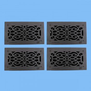 "<PRE>4 Floor Heat Register Louver Vent Victorian Cast 6inch x 12"" Duct </PRE>zoom2"