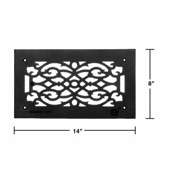 spec-<PRE>4 Heat Air Grille Cast Victorian Overall 8 x 14 </PRE>