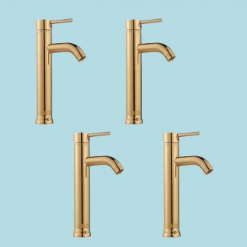 spec-<PRE>4 Bathroom Faucet Gold PVD Brass Round Sinlge Hole 1 Handle </PRE>