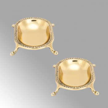 2 Vintage Freestanding Brass Soap Dishes Clawfoot Tub Style