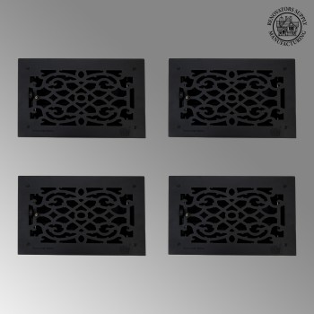 4 Floor Heat Register Louver Vent Cast 8 x 14 Duct roof floor wall air flow return metal cap heat conditioning grate baseboard exterior interior grill decor