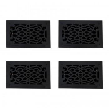 4 Register Black Aluminum Heat Register Cast Aluminum w/Logo RSF Black