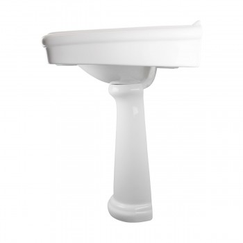 White Porcelain Bathroom Pedestal Sink 8 Widespread Set of 2 Gloss Finish bathroom pedestal sink Pedestal sink bathroom sink