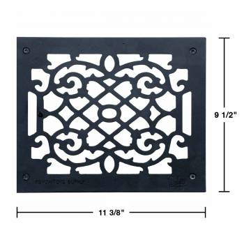 "spec-<PRE>4 Heat Register Floor Vent Grate Cast Aluminum  9.5"" x 11 3/8 </PRE>"