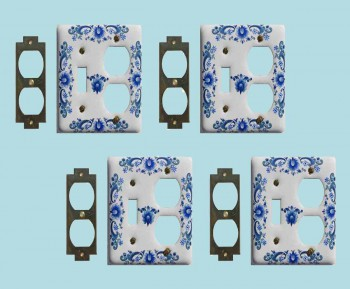 <PRE>4 Vintage Switch Plate White Delft Porcelain Toggle/Outlet </PRE>