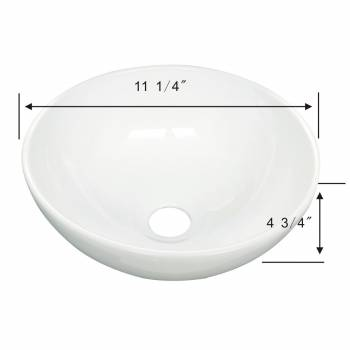 spec-<PRE>White Small Vessel Sink Above Counter Round Porcelain 11.25 inches Dia. Set of 2</PRE>