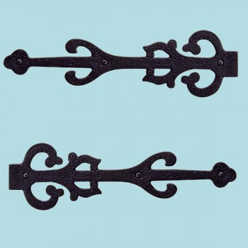 <PRE>2 Wrought Iron Dummy Hinge Decorative Cover Plate 11inch Set of 2</PRE>zoom2