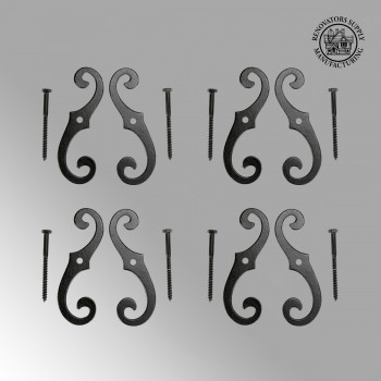 4 Pairs of Vintage Shutter Dogs S Shaped Shutter Hardware in Black