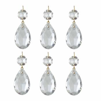 6 Prisms Clear Glass Chandelier Bobeche Pendant 15