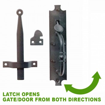 spec-<PRE>3 Cast Iron Door Latch Black &quot;Colonial Norfolk&quot; 8&quot; Tall </PRE>