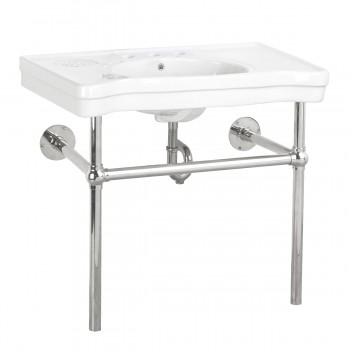 White Console Sink Deluxe with Chrome Bistro Legs, Faucet and PTrap Porcelain Console Sink Glossy Console Bathroom Sinks Wall Mount Console Sink