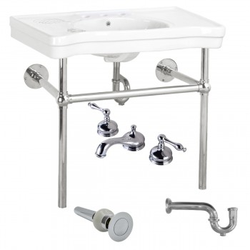 White Console Sink Deluxe with Chrome Bistro Legs, Faucet and P-Trap44329grid