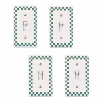4 Porcelain Switch Plate Green Checkered Single Toggle Green Switch Plate Single Toggle Wall Plates Switch Plates