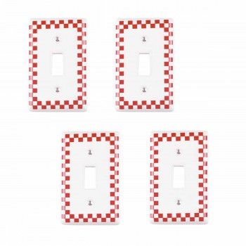<PRE>4 Switch Plate Red Porcelain Checkered Single Toggle </PRE>zoom1