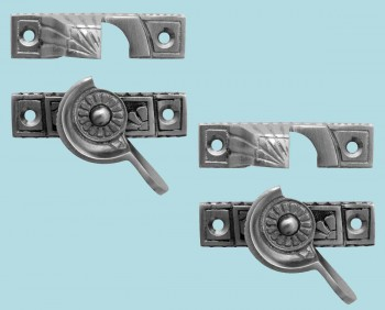 <PRE>2 Ornate Solid Brass Window Sash Lock Satin Chrome </PRE>zoom2