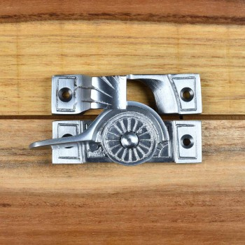 <PRE>2 Ornate Solid Brass Window Sash Lock Satin Chrome </PRE>zoom7