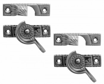 <PRE>2 Ornate Solid Brass Window Sash Lock Satin Chrome </PRE>zoom1