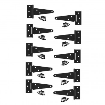 T Strap Door Hinges Black RSF Wrought Iron 5in Set of 10 Hinges