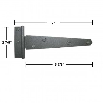 "spec-<PRE>T Strap Door Hinge Black RSF Iron Light Duty 7"" Set of 10 </PRE>"