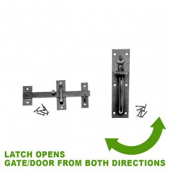 spec-<PRE>Wrought Iron Door Latch Pull Suffolk Black 7 Inch</PRE>
