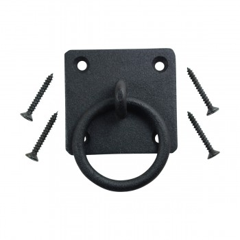 Black Cast Iron Ring Pull Cabinet Handle Rustic Style 4 Pack