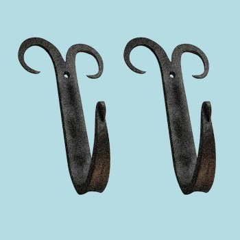 2 Coat Hat Robe Hook Wrought Iron Black Scroll 5 Hooks Decorative Hook Coat Hook