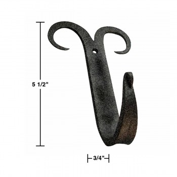 spec-<PRE>2 Coat Hat Robe Hook Wrought Iron Black Scroll 5&quot; </PRE>