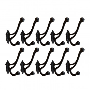 <PRE>10 Hook Black Wrought Iron Double Coat 6 1/2inchH X 3 1/2&quot; Proj </PRE>zoom1
