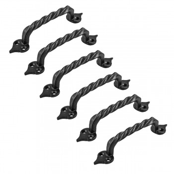 6 Door Pulls Black Wrought Iron Twisted Handle Set of 6
