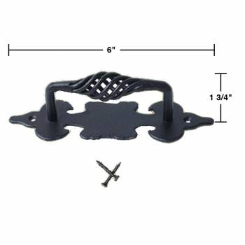 spec-<PRE>10 Cabinet Pull Birdcage Black Wrought Iron 6&quot; </PRE>