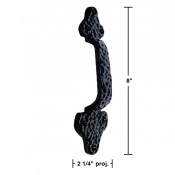 spec-<PRE>10 Door Pull Leaf Black Wrought Iron 8&quot; </PRE>