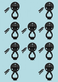 <PRE>Set of 10 Ring Cabinet Drawe Door Pull Wrought Iron Black 2 1/inch H </PRE>zoom2