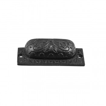 "<PRE>10 Cabinet or Drawer Bin Pull Black Iron Cup 3 1/2inch x 1 1/4"" H </PRE>zoom3"
