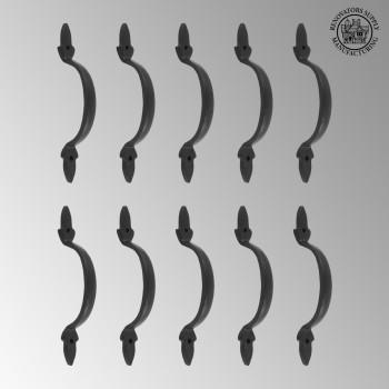 <PRE>10 Door Pulls Black Wrought Iron Fleur de Lis Set of 10 </PRE>zoom2
