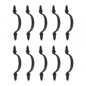 <PRE>10 Door Pulls Black Wrought Iron Fleur de Lis Set of 10</PRE>zoom1