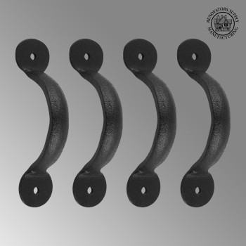<PRE>4 Door or Drawer Pull Black Wrought Iron Bean 3 3/4&quot; x 11/16&quot; </PRE>