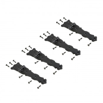 Strap Hinge Black Wrought Iron Fleur de Lis Strap Hinge 5 12 in Pack of 4